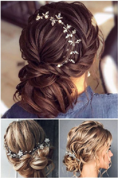 Short Intricate Low Bridal Updos with Accessories (3 styles)