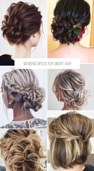 Short Low Bridal Updos and a Half Up Half Down Look (6 styles)