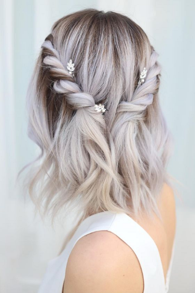 Short Wavy Bridal Hairstyle with Twisted Hair Crown