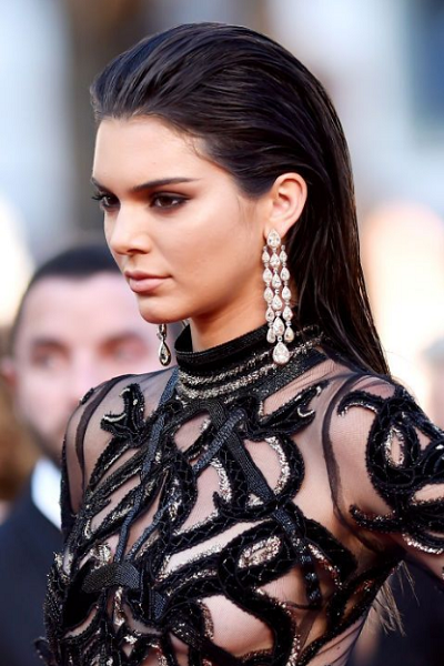 Slicked-Back Formal Wet Look Hairstyle