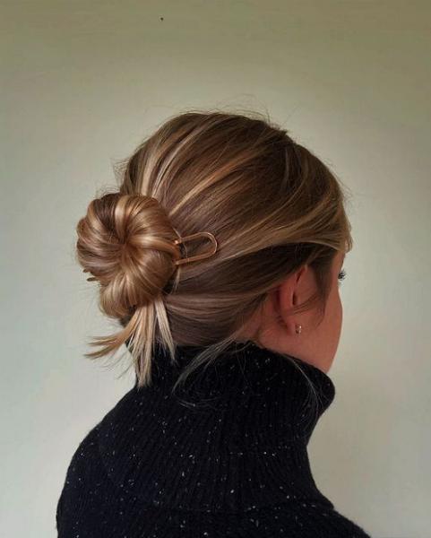 Straight Hair Twisted Messy Bun with Pin
