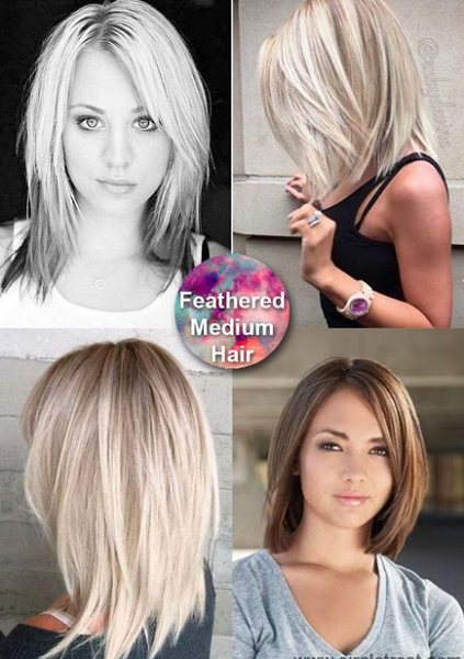 Straight Side-Parted Medium-Length Layered Blonde Hairstyles (4 styles)