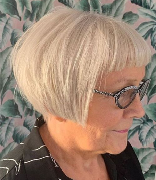 Super Short Angled Straight Bob Cut with Baby Blunt Bangs