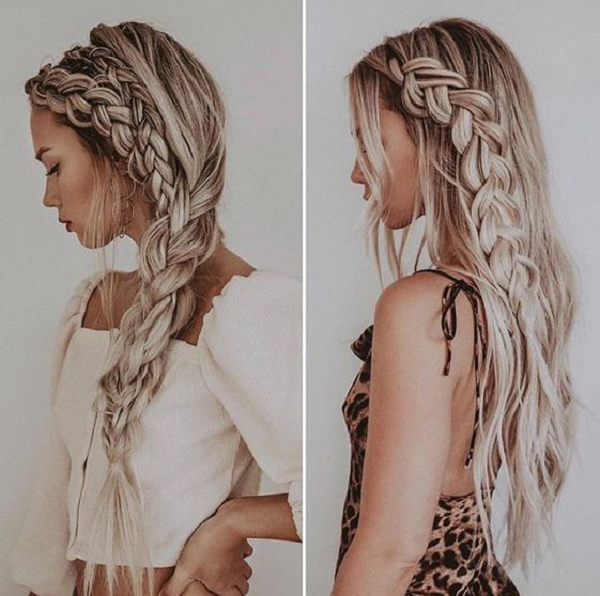 Thick Side Braid & Thin Small Braid with Long Hair
