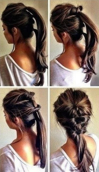 Twisted Braid Made of Two Ponytails