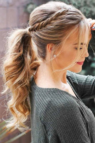 Wavy Formal Ponytail with Twisted Crown