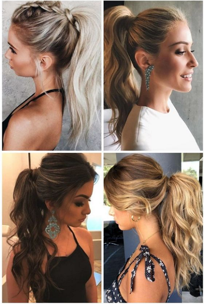 Wavy High Ponytail Variations (4 styles)