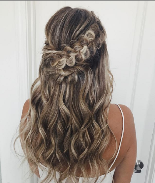 Wavy Long Formal Hairstyle with Braided Crown