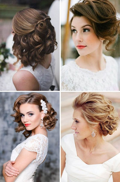 Wavy Short Bridal Updos and Hairstyles (4 styles)