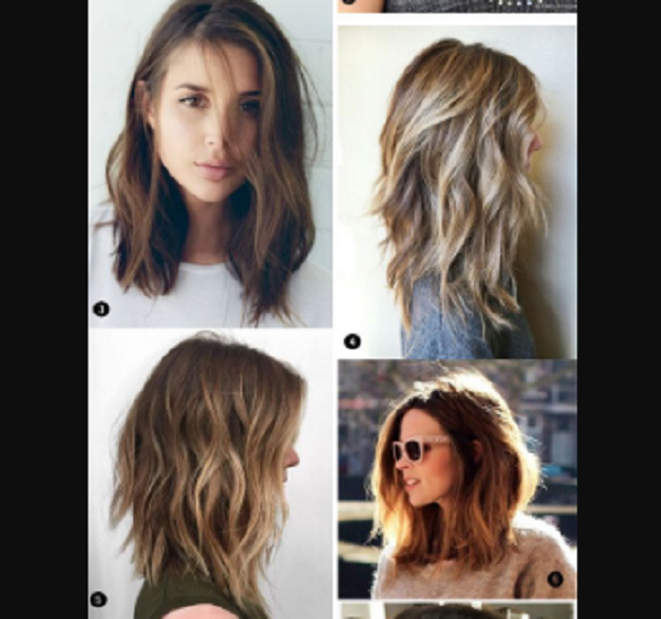 Wavy Side- and Middle-Parted Medium-Length Layered Hairstyles (4 styles)