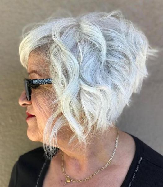 Wavy Wedge Cut with Side-Parted Bangs