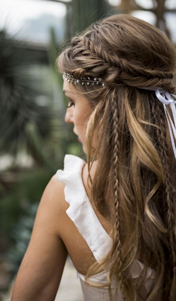 Boho Half Up Half Down Hairstyle with Braided Crown and Thin Braids