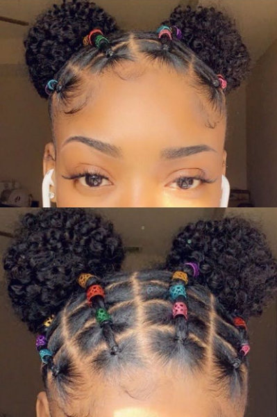 Boxed Rubber Band Space Buns on Natural Hair