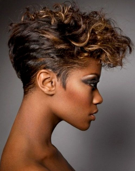 Curly Pixie Cut with Short Nape and Sides