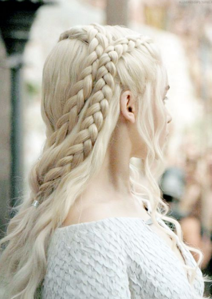 Daenerys-Inspired Half Up Half Down Hairstyle with Intricate Braids