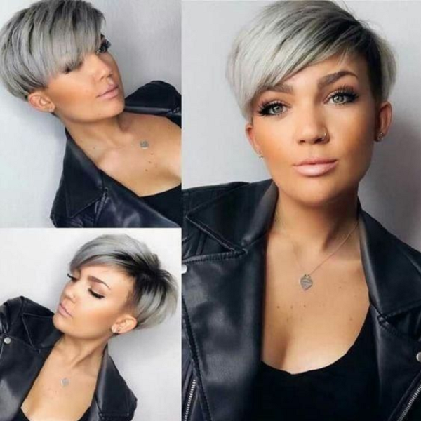 Edgy Side-Parted Silver Pixie Cut