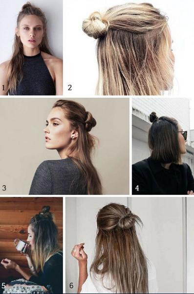 Half Bun Hairstyles (5 ideas)