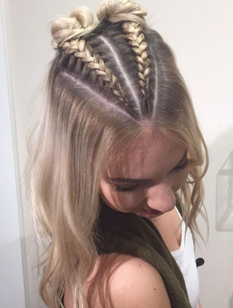 Half Up Half Down Hairstyle with Double Braided Space Buns