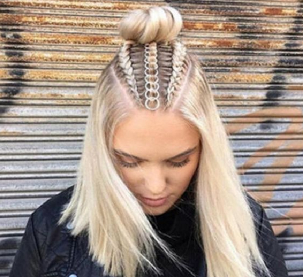 Half Up Half Down Hairstyle with High Bun, Triple Cornrows, and Accessories