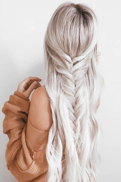 Half Up Half Down Hairstyle with Loose Fishtail Braid