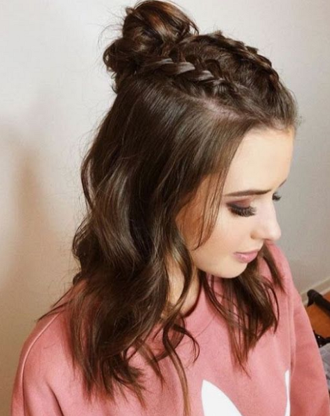 Half Up Half Down Hairstyle with Messy Bun and Double Braids