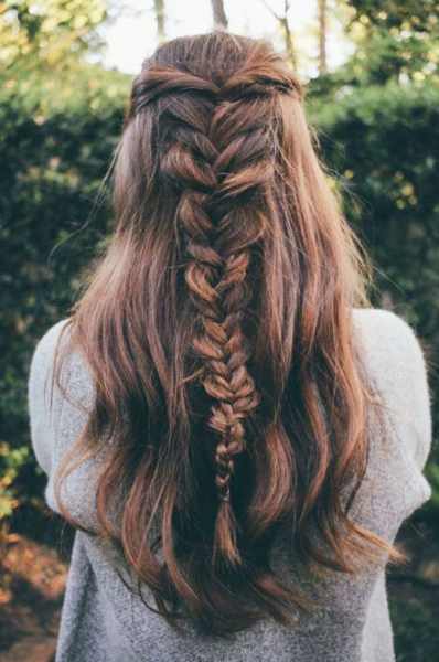Half Up Half Down Hairstyle with Twisted Thick to Thin Braid