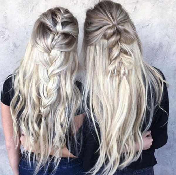 Half Up Half Down Hairstyles with Loose Braids (2 ideas)