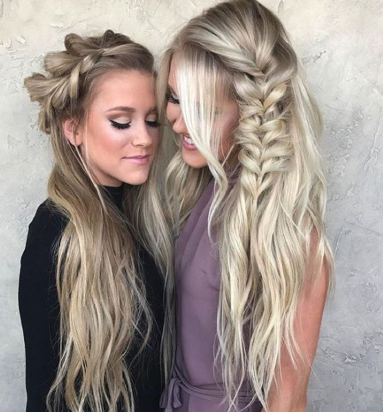 Half Up Half Down Hairstyles with Loose Side Braid (2 ideas)