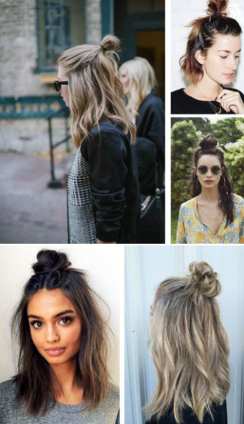 Half Up Half Down Hairstyles with Messy Bun (5 ideas)
