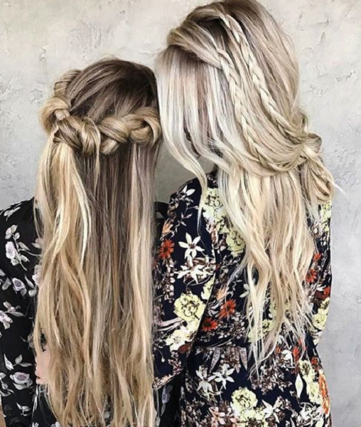 Half Up Half Down Hairstyles with Thick or Thin Braids (2 ideas)