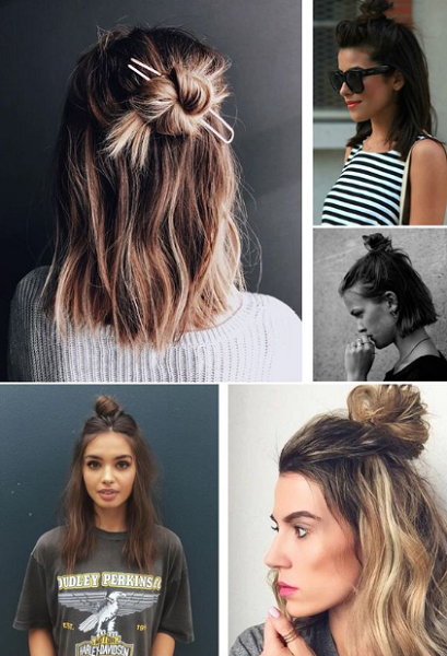 Half Up Half Down Messy Top Knot Hairstyles (4 ideas)