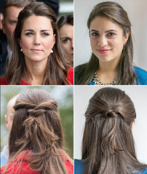Knotted Half Up Half Hairstyle (2 ideas)