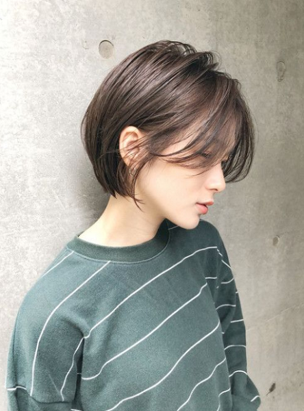 Laidback Bob Cut with Middle-Parted Thin Bangs and Short Nape Area