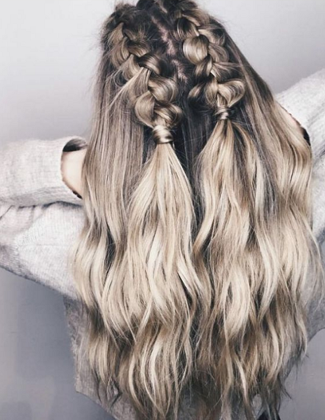 Long Half Up Half Down Hairstyle with Two Loose Braids