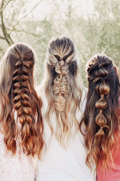 Long Half Up Half Down Hairstyles with Bubble (Loose) Braids (3 ideas)
