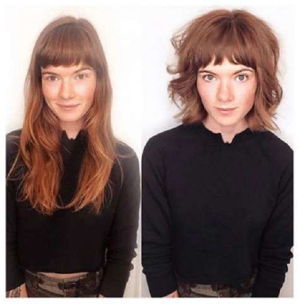 Long to Medium Messy Hairstyle with Thick Blunt Bangs (2 ideas)