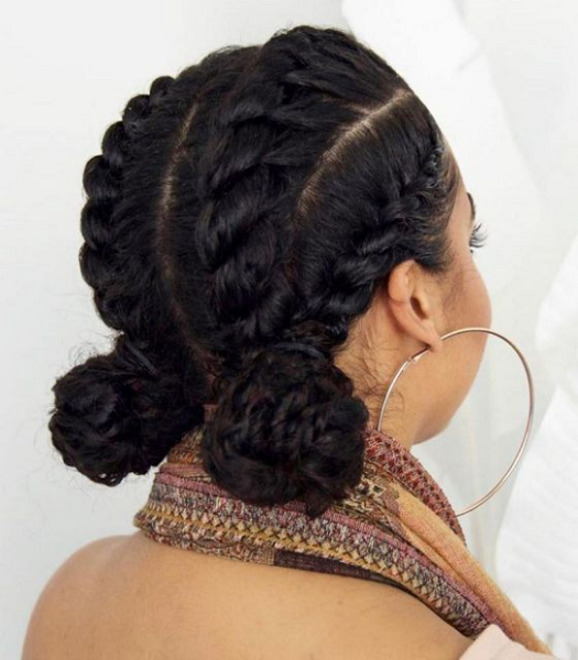 Low Braided Rubber Band Buns