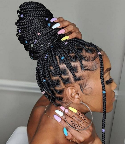 Massive Braided High Bun with Tiny Rubber Bands