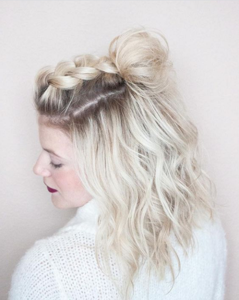 Messy Half Up Half Down Hairstyle with Messy Bun and Thick Upper Braid