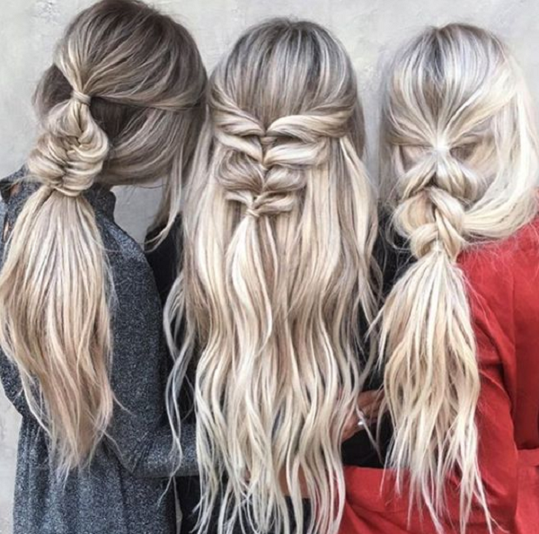 Messy Half Up Half Down Hairstyles with Small Braided Sections (3 ideas)