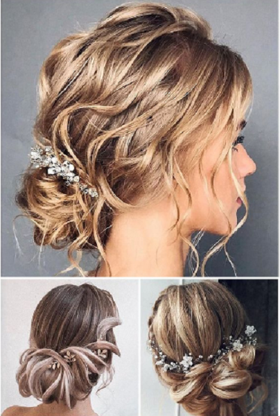 Messy Low Buns with Accessories (3 ideas)