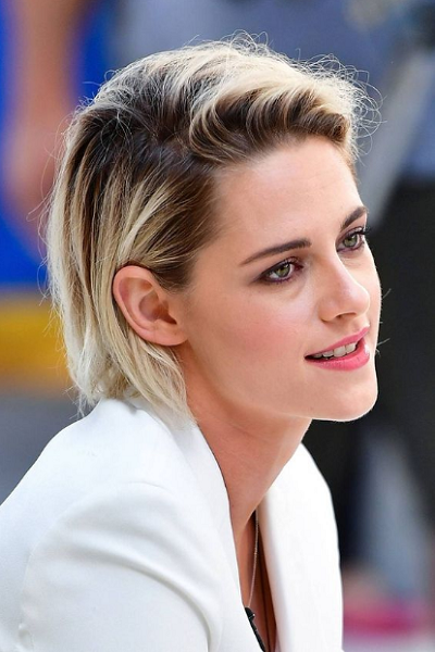 Messy Side-Parted Short Hairstyle with Dark Roots