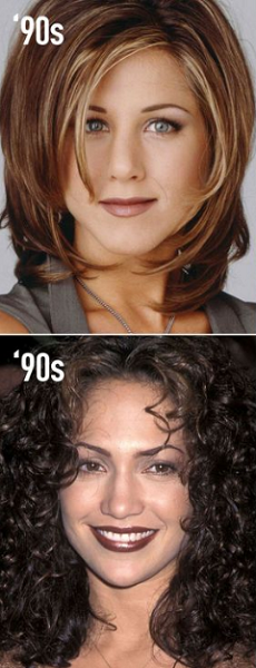 Middle-Parted Curly and Side-Swept Feathered Medium-Length Hairstyles (2 ideas)