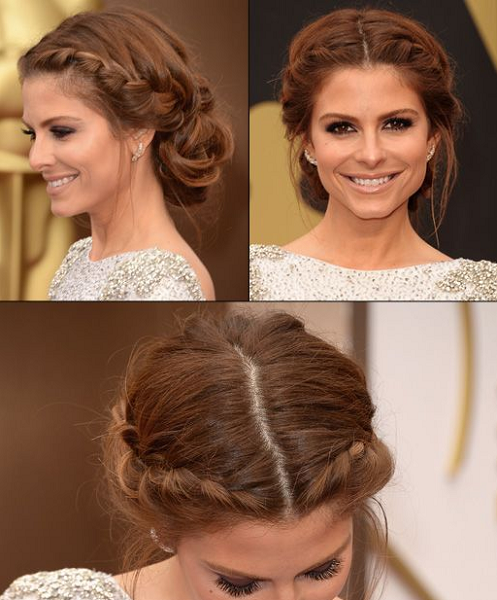 Middle-Parted Low Bun with Lateral Loose Braids