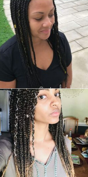Rubber Band Box Braids (2 ideas)