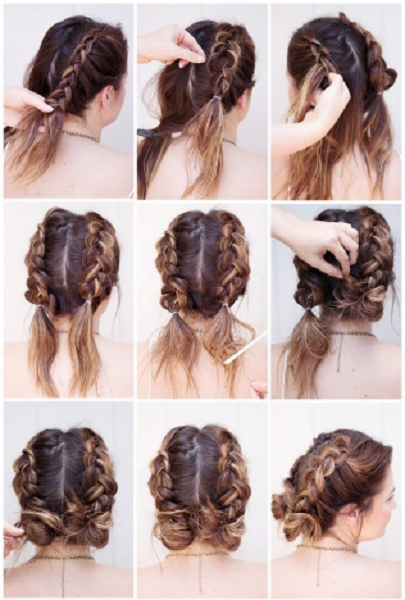 Rubber Band Braids and Low Messy Up Do ( 2 ideas)
