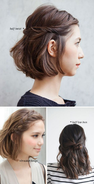 Short Wavy Hairstyles with Braids and Messy Bun (3 ideas)