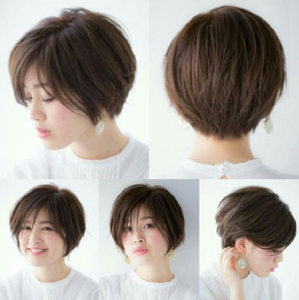 Side-Parted Rounded Out Short Hairstyle with Long Bangs