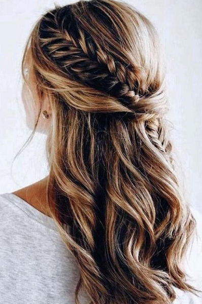 Slightly Wavy Half Up Half Down Hairstyle with Fishtail Braid Crown