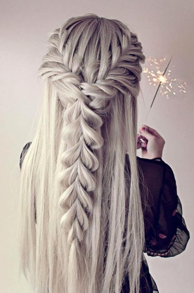 Straight Half Up Half Down Hairstyle with Fishtail Braid Crown and Long Loose Braid